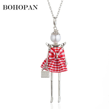 цена на Cute Pendants Necklaces Women Girl Red Plaid Dress Doll Necklace Sector Cloth Design Silver Color Alloy Long Chain Jewelry Gift