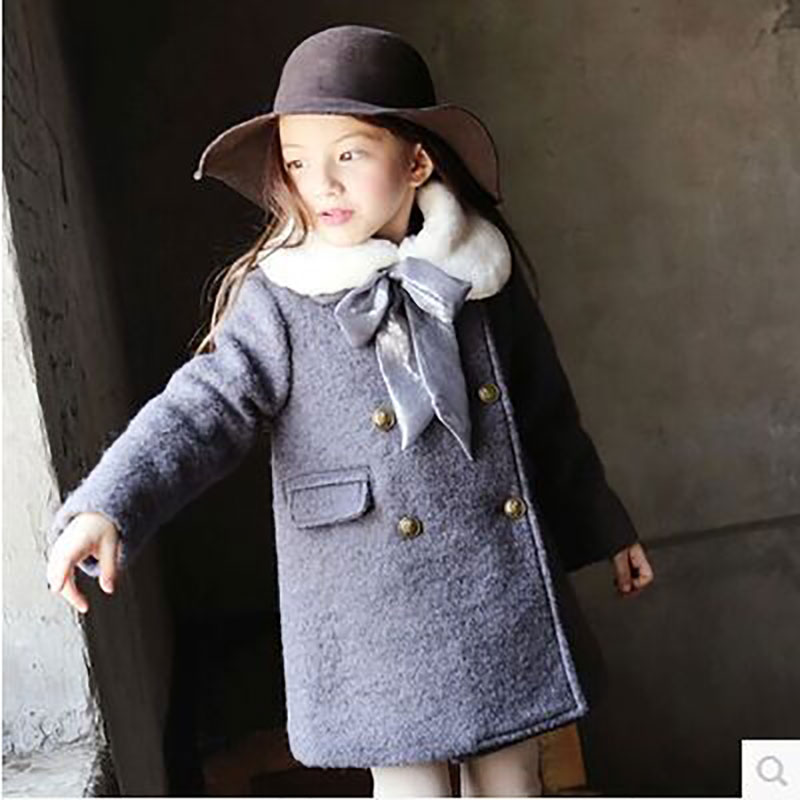 2017 New Girls Woolen Jacket Kids Coat Hooded Winter Warm Thicker Outerwear Collar Children's Princess Girl Clothing plus size winter women cotton coat new fashion hooded fur collar flocking thicker jackets loose fat mm warm outerwear okxgnz 800