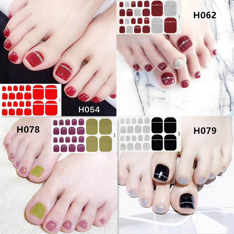 7sheets Colorful Glitter Toenail Stickers Nail Art Sticker 22tips Wraps Eco-friendly Smudge Film DIY Polish