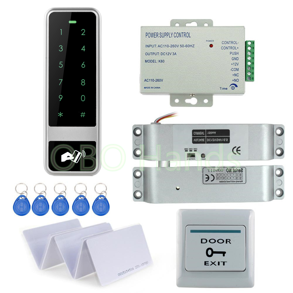 ФОТО Fast Delivery Full Access Control RFID Electronic door lock kit set with 12V power supply+door release button switch+key cards
