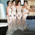 2016 Mermaid Champagne Bridesmaid Dresses Appliques Sheer Tulle Spaghetti Straps Floor Length Sexy Bridesmaid Dress Women