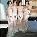2016 Mermaid Champagne dama de honor vestidos apliques escarpado Tulle correas espaguetis palabra de longitud Sexy vestido de dama de mujeres