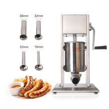 GZZT Sausage Stuffer 201 Stainless Steel 3L/5L/7L Manual Hand Filler Meat With Four Size Funnel