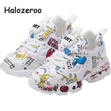 Bahar yeni çocuklar Pu deri ayakkabı bebek kız spor ayakkabılar çocuk örgü ayakkabı erkek moda rahat ayakkabılar yumuşak marka eğitmen 2021