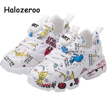 Chaussures de Sport en cuir Pu pour enfants   Baskets de Sport pour bébés filles, chaussures de loisir à maille pour enfants garçons, marque souple d'entraîneur, nouvelle collection printemps 2019