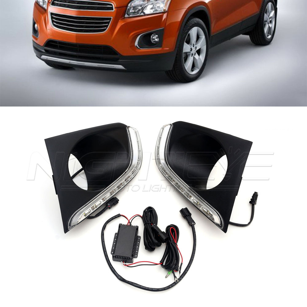 For CHEVROLET TRAX 2014-2017 High Quality Car-special LED Daytime Running Light with Fog Lamp Cover DRL D15 high quality h3 led 20w led projector high power white car auto drl daytime running lights headlight fog lamp bulb dc12v