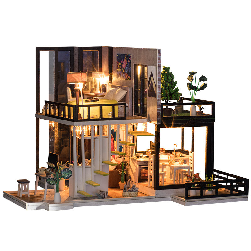Image 2 - diy big doll house wooden doll houses kitchen miniature villa dollhouse kast furniture kit travaux manuels adulte oyuncak ev-in Doll Houses from Toys & Hobbies