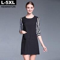 Black Women Dress Autumn Striped Sleeve Patchwork O Neck Loose Casual Dresses Pockets L XL XXL 3XL 4XL 5XL Plus Size Vestidos