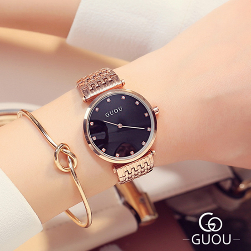 GUOU Fashion Watch Women Rhinestone Quartz Watch Relogio Feminino Women's Wrist Watch Dress Clock Hodinky Ceasuri Reloj Mujer new fashion watch women rhinestone quartz watch relogio feminino the women wrist watch dress fashion watch reloj mujer dift box