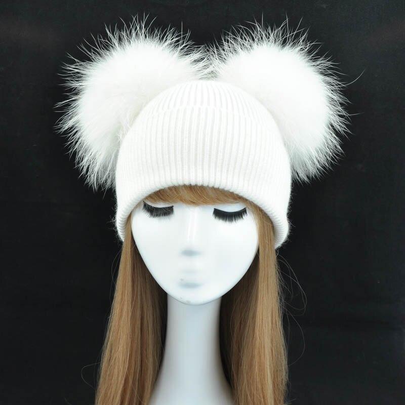 Double Réel De Fourrure Pom Pom Chapeau Femmes Chapeaux D'hiver Tricoté Laine chapeaux Skullies Bonnets Filles Femelle Naturel Deux Fourrure Pompon Beanie Chapeau