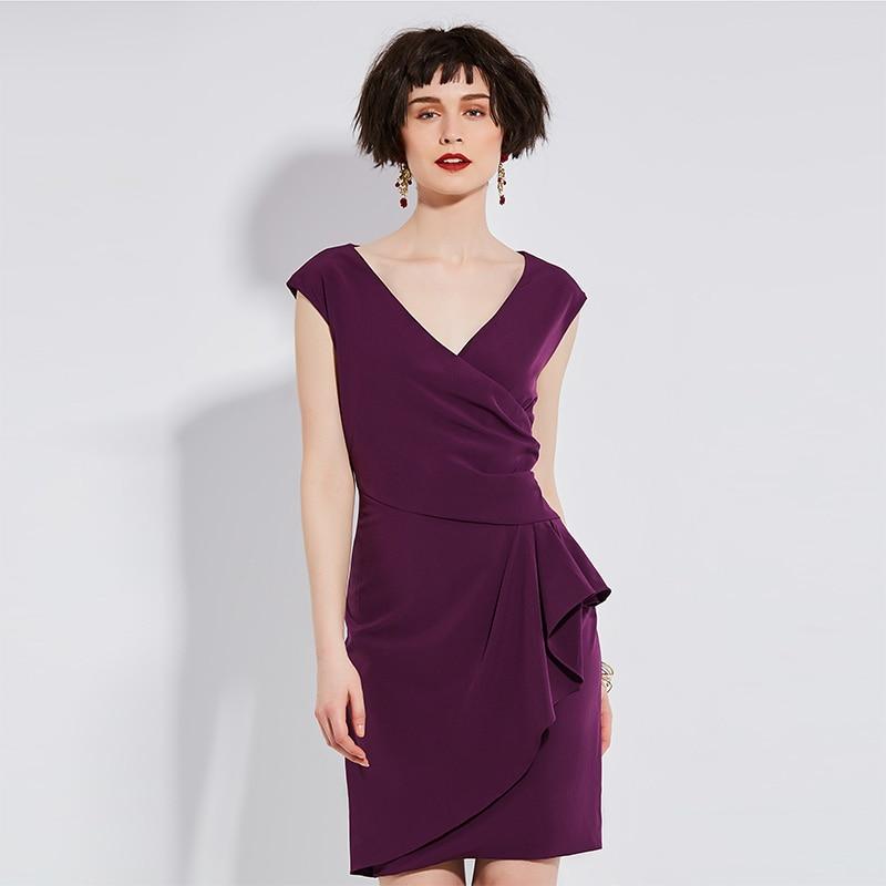 Summer Bodycon dress Girls Solid plus size sleeveless 2017 Women Purple dress Pullover V-neck Fashion dress Plain
