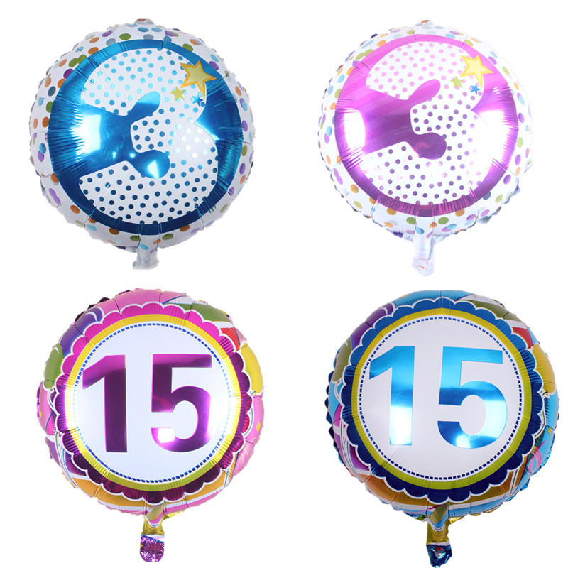 18 inch round Number Foil Balloons Digit Helium Balloon wedding Birthday balloon