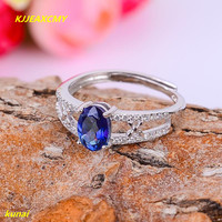 KJJEAXCMY fine jewelry 925 silver inlay natural Tanzanite color Topaz Ladies Ring Jewelry abcd