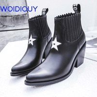 Black Cow Leather Boots Stars Pleated New Winter Genuine Leather Booties for Women Boots Handmade Womens Boots Round Toe Shoes