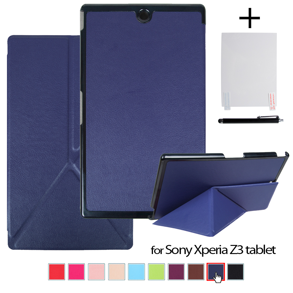 Case for Sony Xperia Z3 Compact 8'' Tablet New PU Leather Transformer Cover Case + Screen Protector Film + Stylus ultra thin smart flip pu leather cover for lenovo tab 2 a10 30 70f x30f x30m 10 1 tablet case screen protector stylus pen