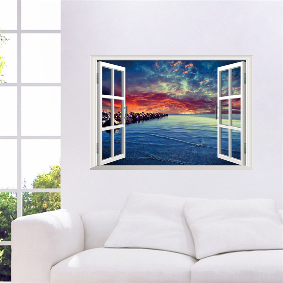Open Window At Dusk: Dusk Sunset Fake Window Stickers For Sofa Background 3D