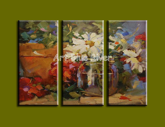 3 piece Muti panel abstract modern canvas wall art font b Knife b font White Floral