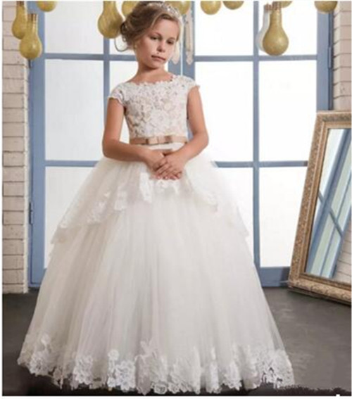 Vintage White Lace Puffy Flower Girl Dresses For Weddings Tulle with Bow Floor Length First Communion Dress 2017 Custom