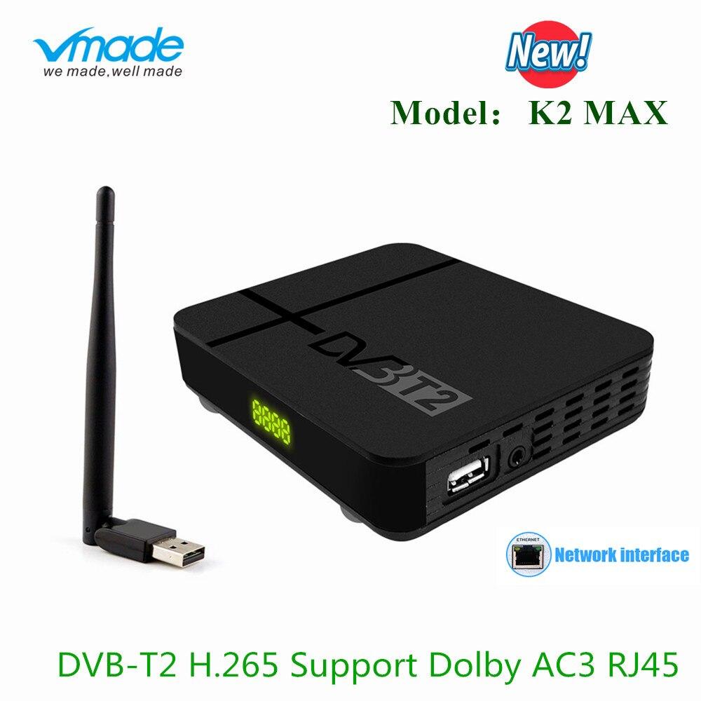 Vmade DVB-T2 Terrestrial Receiver DVB-T H.265/HEVC HD Digital TV Tuner Built-in RJ45 Network + WIFI Support MPEG-2/4 AC3 Youtube