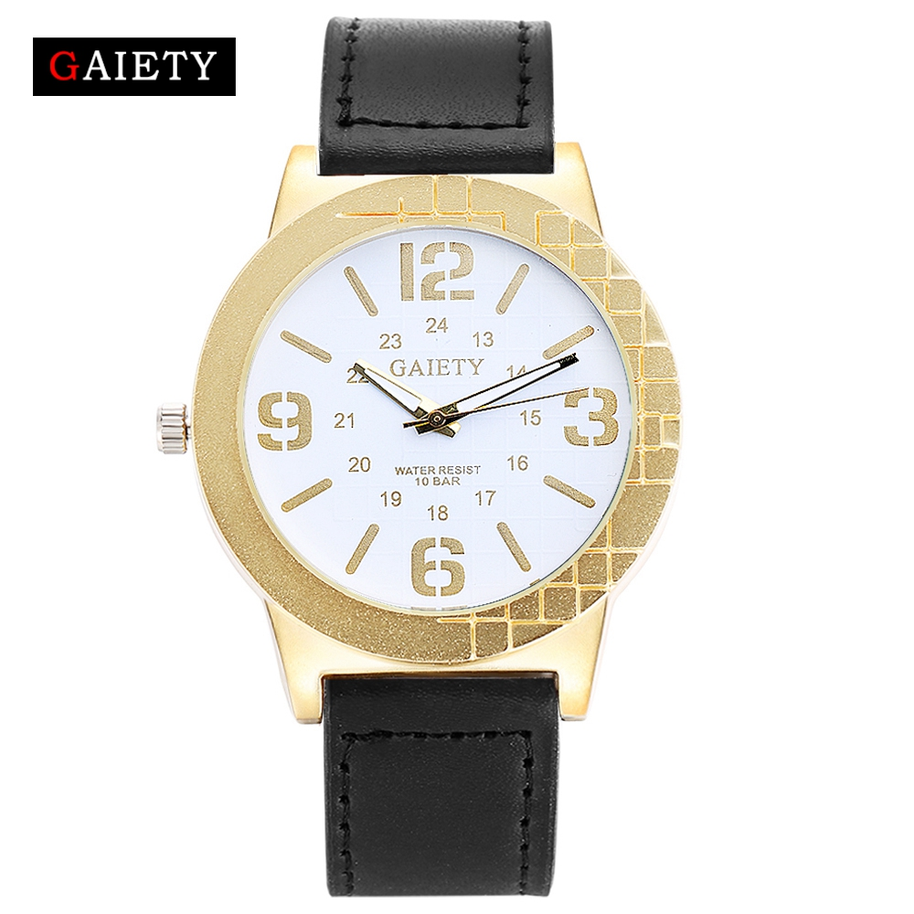 GAIETY Fashion Men Watch Casual Black Leather Strap Quartz Wristwatch Watches For Men Business Sport Classic Gift G150