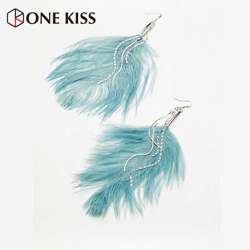 Bohemian ZA Ethnic Feather Drop Earrings Big Long Dangle Fringed Statement Earrings For Women Tassels Jewelry Pendientes Bijoux