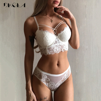 New Top Sexy Underwear Set Green Bras Cotton Brassiere Women Lingerie Set Lace Embroidery Push up Bra Panties Sets Deep V Gather 1