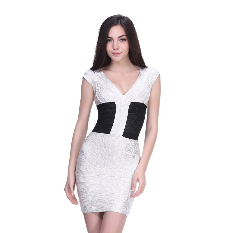 2016 New Designer Dresses Sheath Slim V Neck Mini Silver Gold Evening Party Celebrity HL Bandage Bodycon Dress Wholesale