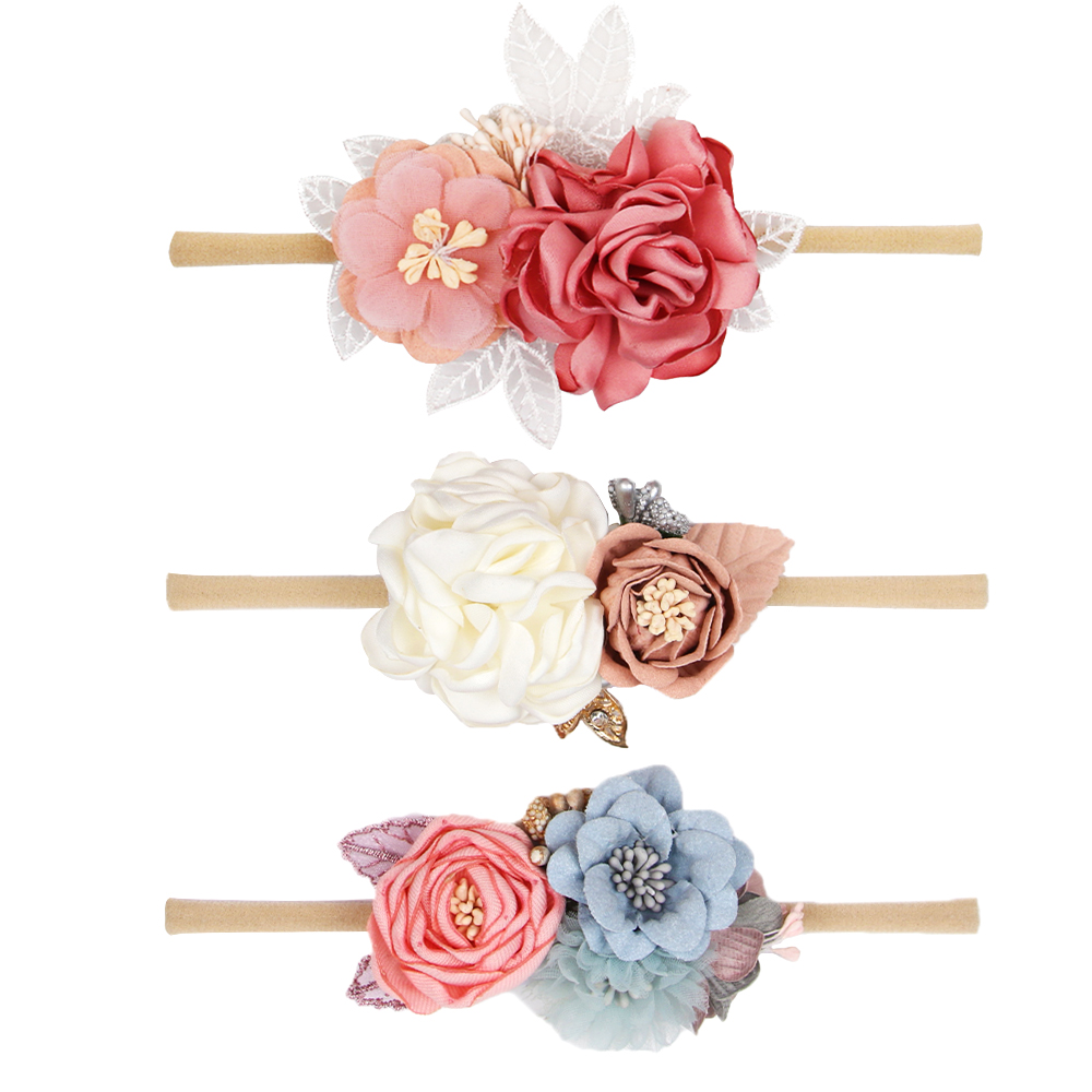 New Artificial Flower Headband for Baby Girls With Elastic Nylon Band Summer Sweet Princess Headwear Newborn Photography Props in Hair Accessories from Mother Kids