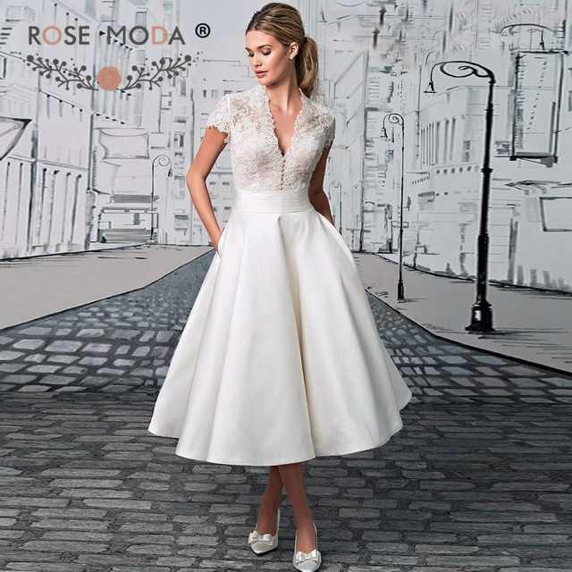 Rose Moda Deep V Neck Short Sleeves Tea Length Beach Wedding Dress
