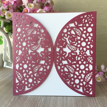 100pcs/lot Vintage Pearl Paper Birthday Card Laser Cut Carved Small Flora Pattern Wedding Card Event Party Supplies