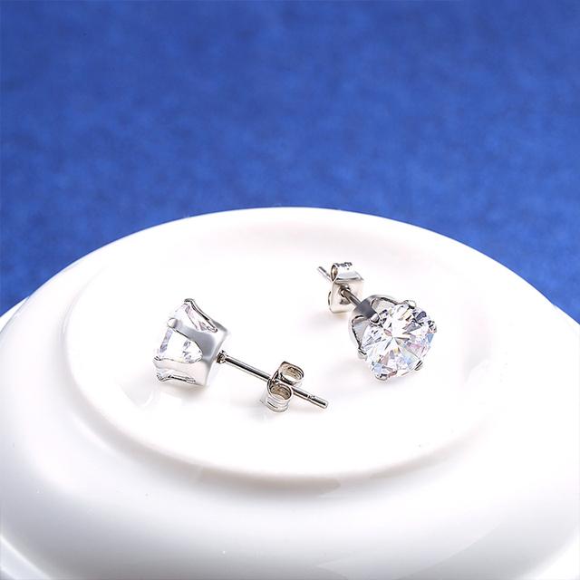 Small Zircon Stainless Steel Stud Earrings