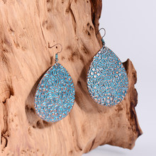 Ethnic Style Blue Copper Water Drops Big Earring For Women Bohemian Flower Carved Golden Alloy Drop Dangle Earrings Hot Sale(China)