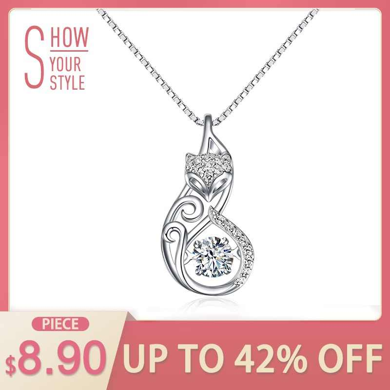 Effie Queen Crystal Women S925 Sterling Silver Necklaces Cute Fox Pendant  Necklace for Women Lady Girl 01a16da99e7a