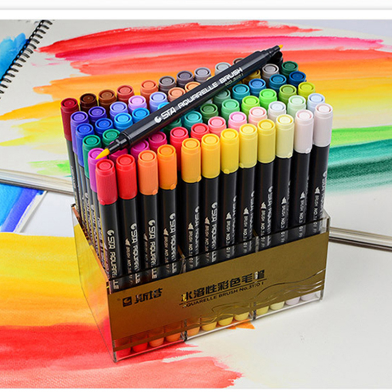STA 12/24/36/48/80 Colors Water Based Ink Marker Pen Design Paint Sketch Manga Markers for Art Supplies School Supplies