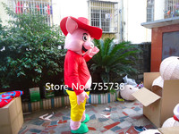 Hot Christmas Eve happy pig mascot costume adult size cartoon clothing red Christmas carnival