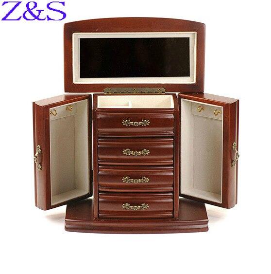 Cadeau du jour de mère de luxe en bois boîte à bijoux boucles d'oreilles bracelet cercueil boîte de bijoux d'affichage organisateur cadeau boîte