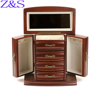 Mother's day gift luxurious wooden jewelry box earrings bracelet casket box jewelry display organizer gift box
