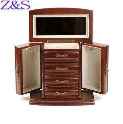 Regalo del Día de la madre lujoso de madera caja de joyería pendientes pulsera caja de ataúd organizador para presentación de joyas caja de regalo