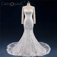 Vintage Full Lace Wedding Dress Long Sleevs Mermaid Bridal Gowns 2017 Wedding Dresses Backless Button Vestido de Novia