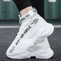 Fashion Non leather Men Casual Shoes Breathable High Top Sneakers Men Lace up Flat Sport Male Shoes Size 39 44 Trainers NX011