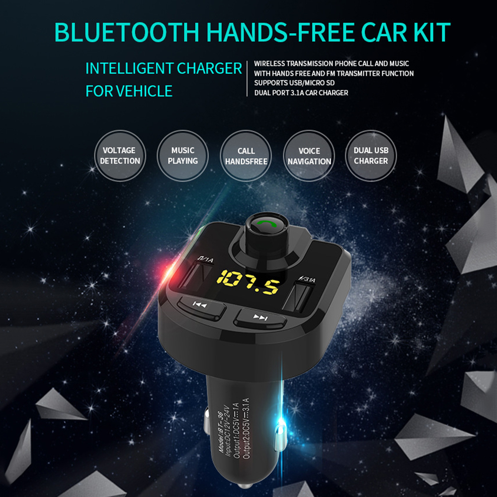 New Bluetooth Mp3 Player Wireless Bluetooth Hands-free Fm Card Machine Car Music Player One-click Answer Hand Free Car Kit