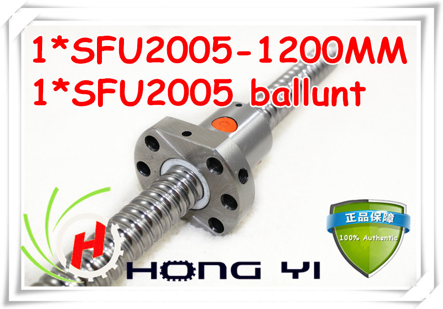 Zero Backlash Ball screws 2005 -L1200mm + 1pcs SFU2005 single ballnut / end machining is optional for CNC Linear Working Table tbi ball screw 2005 c7 1000mm with 5mm lead without flange ballnut bsh2005 for cnc kit backlash