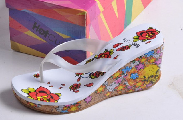537f10a3332a Bohemia sandals fancy flip-flop slippers small wedges sandals women s shoes