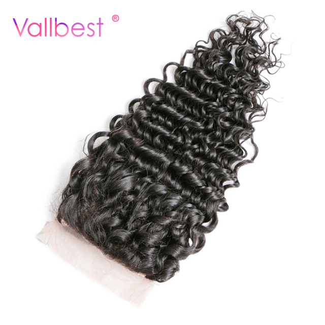 Vallbest Brazilian Deep Wave Lace Closure Non Remy Hair 100% Human Hair Bundles With 4X4 Natural Black Brazilian Hair Free Part