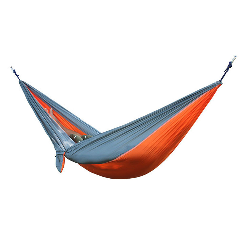 Best 2 People Portable Parachute Hammock for outdoor Camping(Orange with gray side) 270*140 cm 2 people portable parachute hammock camping survival garden flyknit hunting leisure hamac travel for outdoor camping 270 140 cm