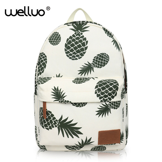 33a64a10f571 US $15.0 40% OFF|Women Fruit Printing Backpack Canvas School Bag For  Teenage Girls Green Pineapple Backpacks Large Laptop Travel mochila  XA24B-in ...