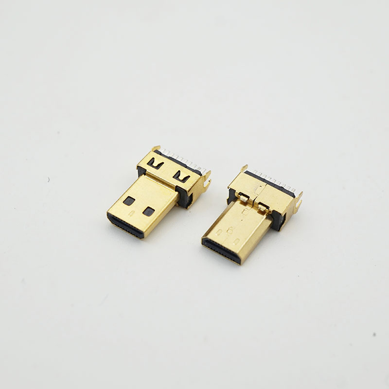 200pcs Gold Plating 19P Micro Hdmi Male Connector Jacks Plug for Digital Product Hdmi Connector