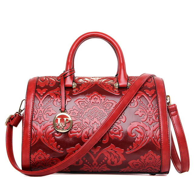 2018 Women Handbags Printing Messenger Bag For Lady Vintage Embossed Pattern Leather Tote Shoulder Chinese