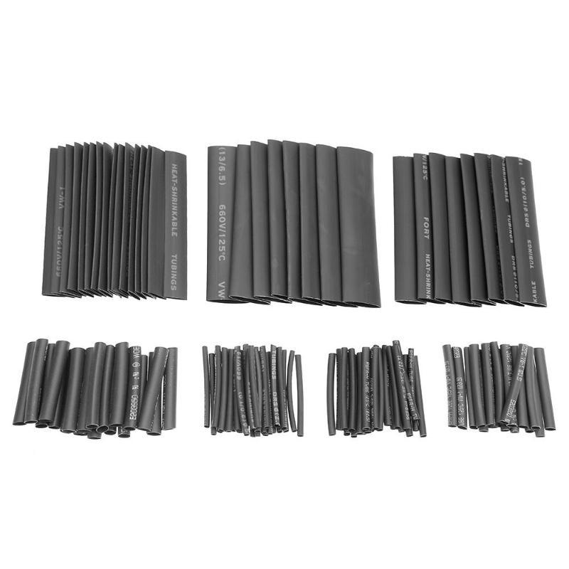 Jeu de tubes thermorétractable 127 pièces/lot | Kit de gaine de câble 2:1 en Polyolefin, jeu de fils d'enveloppe, jeu de mancherons de câbles pièces