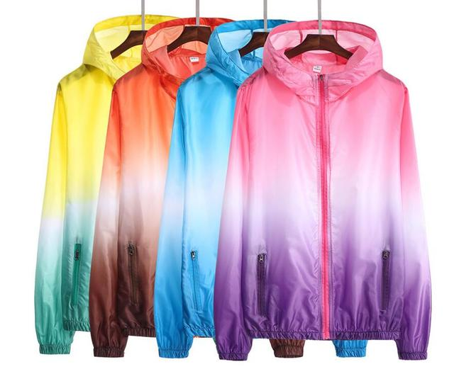 Yizlo jaqueta corta-vento das mulheres dos homens jaqueta masculina jaquetas college verão Colorido Ultrafinos rashguard